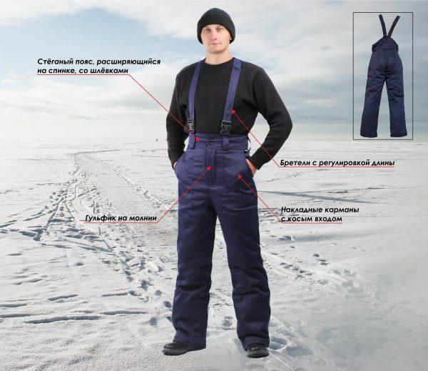 Полукомбинезон мужской зимний т-синий с СОП URSUS