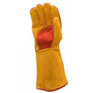 Краги спилковые РЛ желтые с красным, флисовая подкладка