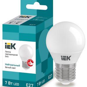 Лампа светодиодная ECO G45 шар 7Вт 230В 4000К E27 IEK