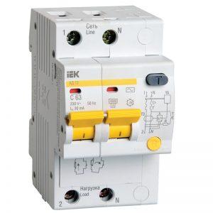 Дифференциальный автомат 2-пол. 10А С 30мА АС 4.5кА АД-12 IEK