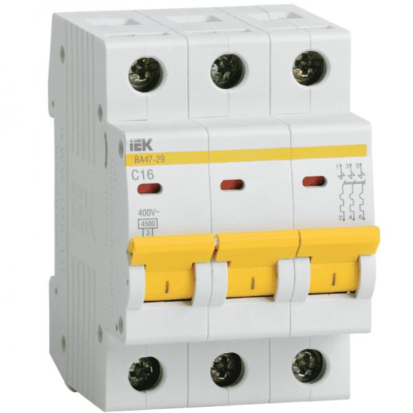 Выключатель автоматический 3-пол. 10А С 4,5кА ВА47-29 IEK