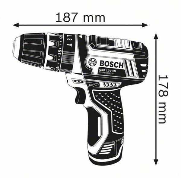 Аккумуляторная ударная дрель-шуруповёрт Bosch GSB 12V-15 Professional