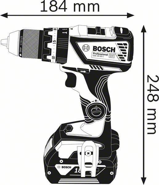 Аккумуляторная ударная дрель-шуруповёрт Bosch GSB 18V-60 C Professional