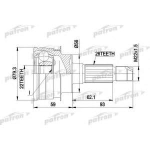 PCV1138 Patron полуось (привод) передняя правая